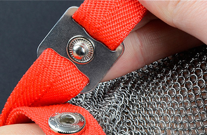 3301- Cut Resistant Ring Mesh Gloves with Silicone Rubber Strap Three Fingers Protection